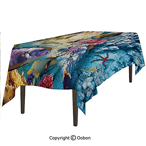 oobon Space Decorations Tablecloth, Exotic Coral Reefs Fish School Starfish Shallow Clean Lagoon Egyptian Red Sea Image, Rectangular Table Cover for Dining Room Kitchen, W60xL84 inch