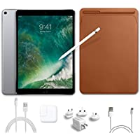 2017 New IPad Pro Bundle (5 Items): Apple 10.5 inch iPad Pro with Wi-Fi 256 GB Space Gray, Leather Sleeve Saddle Brown, Apple Pencil, Mytrix USB Apple Lightning Cable and All-in-One Travel Charger