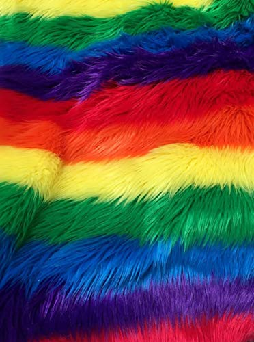 LUVFABRIC Shaggy Fuzzy Faux Fur Extra Soft Rainbow Colored, with 2