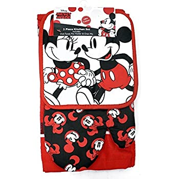 Disney Oven Mitt Pot Holder & Dish Towel 3 pc Kitchen Set (Mickey Minnie Red)