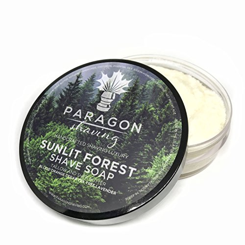 Mens Luxury Shaving Soap Cream - Premium Blend Formula - Sunlit Forest for Men by PARAGON SHAVING - Thick Lather and Elegant Scent with Only Essential Oils - 4.0 - Essential Oil Shave