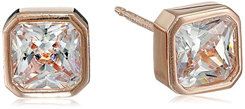 Rose Gold-Plated Sterling Silver Square-Cut Bezel-Set Cubic Zirconia 5.5mm Stud Earrings (1.3 - Rose Bezel Cut Set