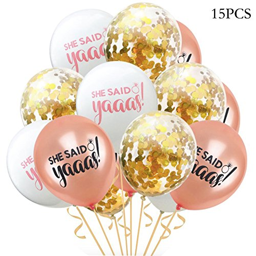 She Said Yaaas Rose Gold,White, Confetti Balloons Pack of 15 Bachelorette Party, 12 Inch, Great for Bridal Shower Bachelorette Engagement Decorations, Birthday Party (3 Color)