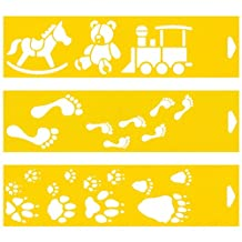 """Set of 3 - 12"""" x 3"""" Reusable Flexible Plastic Stencils for Cake Design Decorating Wall Home Furniture Fabric Canvas Decorations Airbrush Drawing Drafting Template - Toys Train Teddy Bear Human Animal Footprints"""