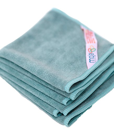 MojaFiber Microfiber Multipurpose Towel Set-Heavy Duty Stitching-Soft Fast Drying Ultra Absorbent-Great for Kitchen Counters Glass Cleaning Drying Dishes Lint-Free Streak-Free 3-Piece 12 x 12(Teal)