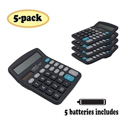 SUNYANG Calculator 5 Packs, Electronic Desktop Calculator 12 Digit Large Display, Solar Battery LCD Display Office Calculator