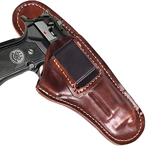 Leather IWB Belt Clip Holster for Beretta 92FS| Concealed Carry Inside The Waistband Holster for B92FS| Proudly Made in The USA| Leather Pistol Holster (Mahogany, Right) (Best Handgun Made In Usa)