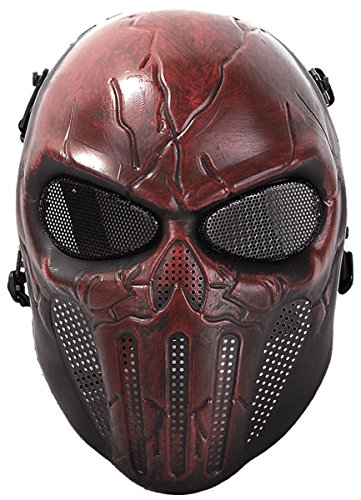 Coxeer Paintball Mask Skull Cosplay Breathable Airsoft Full Face Halloween Mask