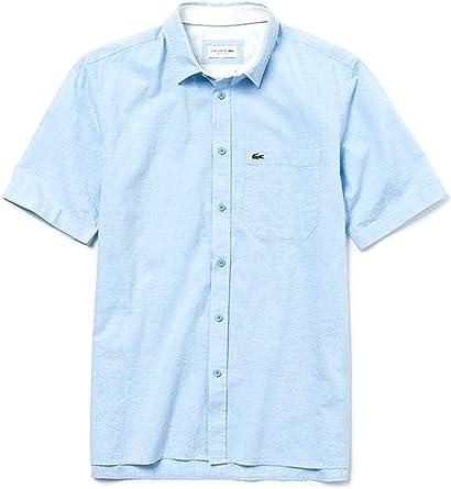 Lacoste Camisa Popelin Short Azul Claro Hombre 41 Azul: Amazon.es: Ropa y accesorios