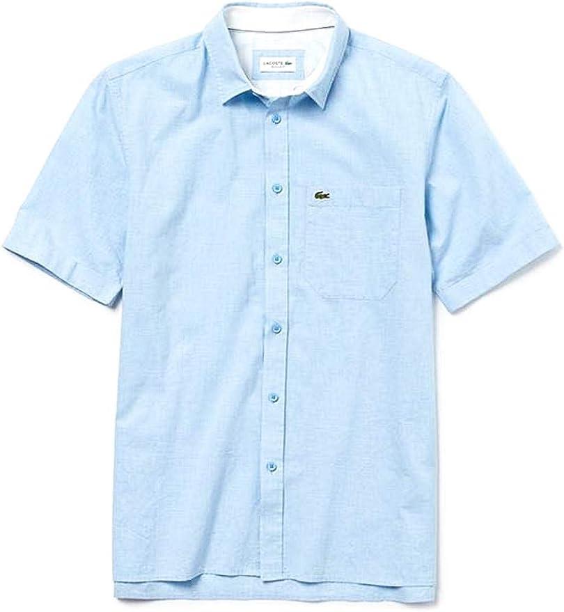 Lacoste Camisa Popelin Short Azul Claro Hombre 41 Azul ...