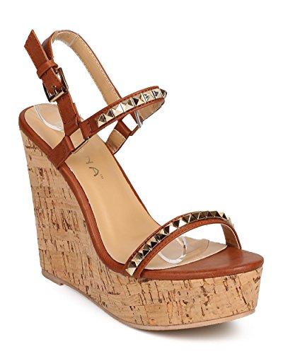 Slingback Cork Wedge Sandal (Liliana DI23 Women Leatherette Open Toe Pyramid Studded Slingback Cork Wedge Sandal - Cognac (Size: 5.5))