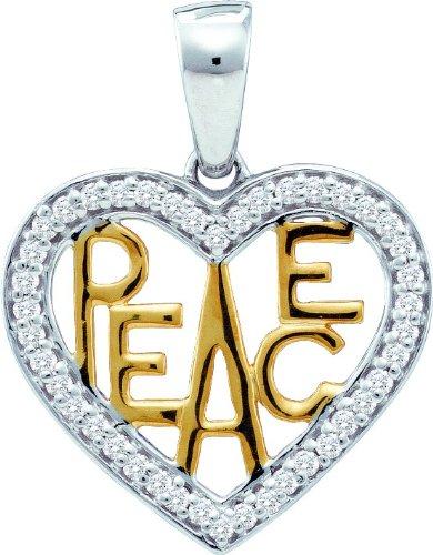 En or blanc 10 k 0,15 Dwt de diamant fantaisie Pendentif or de haute qualité Or 9 carats JewelryWeb