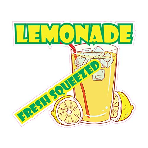 Die-Cut Sticker Multiple Sizes Lemonade Fresh Squeezed Restaurant & Food Lemonade Indoor Decal Concession Sign Yellow - 10in Longest Side]()