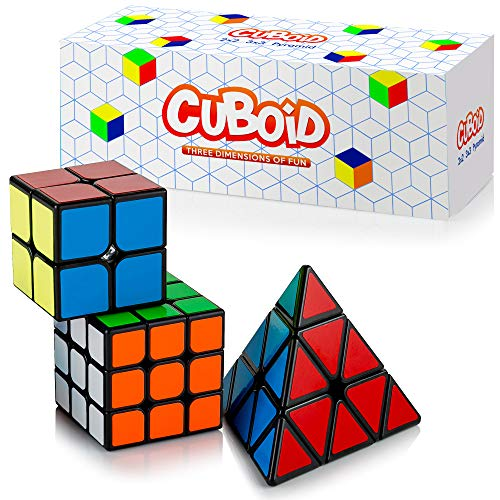 Cuboid Magic Puzzle Cube Set of 3: 2x2, 3x3 & Pyramid Cube | Adjustable Tension for Quick Turn and Smooth Play | Fidget Speed Cubes: Classic IQ Games Toys for Kids & Adults ()