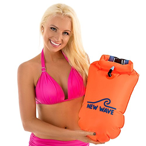 20l Water - New Wave Swim Buoy - Swim Safety Float and Drybag for Open Water Swimmers, Triathletes, Kayakers and Snorkelers, Highly Visible Buoy Float for Safe Swim Training (PVC Large 20 Liter Orange)