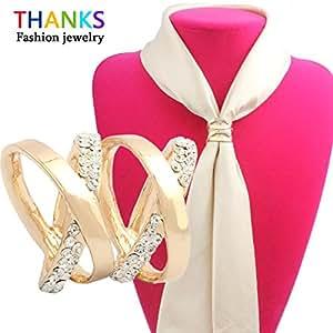 Plata estilo coreano moda mujer joyería oro bañado en plata diamante Checa Multilayer Cruz Broche Hebilla de chal bufandas bufanda Clips
