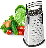 : Box Grater, 4-Sided Stainless Steel Large 10-inch Grater for Parmesan Cheese, Ginger, Vegetables by Spring Chef