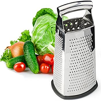 Box Grater, 4-Sided Stainless Steel Large 10-inch Grater for Parmesan Cheese, Ginger, Vegetables by Spring Chef