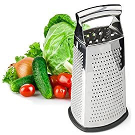 Spring Chef Box Grater, 4-Sided Stainless Steel Large 10-inch Grater for Parmesan Cheese, Ginger, Vegetables 53 AMAZING SALE PRICE - try our most-loved box grater at this steeply discounted rate Ultra Sharp Stainless Steel Blades with a Non-Slip base to keep grater securely in place 4 Graters in 1: 1) Coarse Shred 2) Medium Shred 3) Fine Shred / Zester 4) Slicer