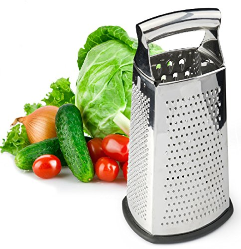 Box Grater, 4-Sided Stainless Steel 10-inch