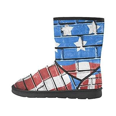 Artsadd Fashion Women's Shoes Grunge Flag Brick High Top Womens Snow Boots