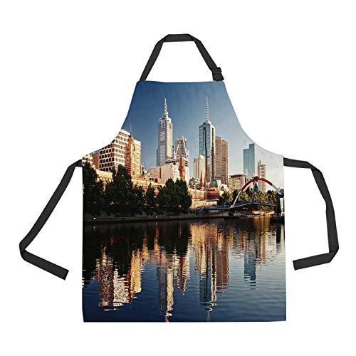 C COABALLA City Durable Print Apron,Idyllic View of Yarra River Melbourne Australia Architecture Tourism for Kitchen,28.33