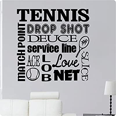 "24"" Tennis Sport Match Point Drop Shot Deuce Service Line Ace Love Net Slice Collage Saying Wall Decal Sticker Art Mural Home Décor Quote"