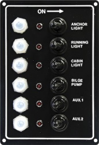 (Seasense Led Switch Panel 6 Gang with Breaker and Rubber Boots)
