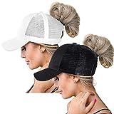 High Ponytail Baseball Hats Cap for Women,Messy Bun Ponycaps Adjustable Cotton and Mesh(Classic(Mesh)-Black/White)