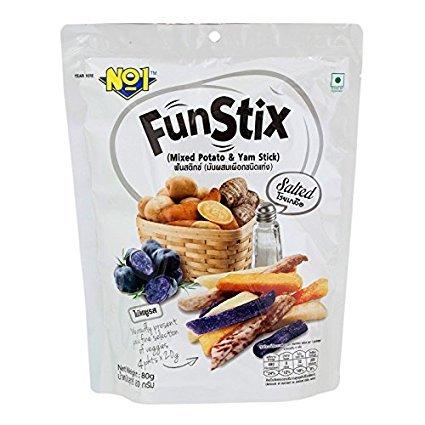 NOI, Fun Stix, Mixed Potato & Yam Stick, Salted, 80 g.