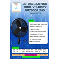Misting Fan - Patio Mist Fan - Outdoor Mist Fan - For Residential, Commercial, Restaurant and Industrial Misting Application (30 Inch Black Misting Fan)