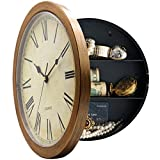Magho Plastic Wall Clock With Secret Compartment as Hidden Safe for Money Jewelry Stashing (10', Wood Grain)