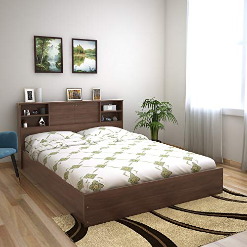 @home by Nilkamal Garren Queen Bed with Headboard and Box Storage  Wenge