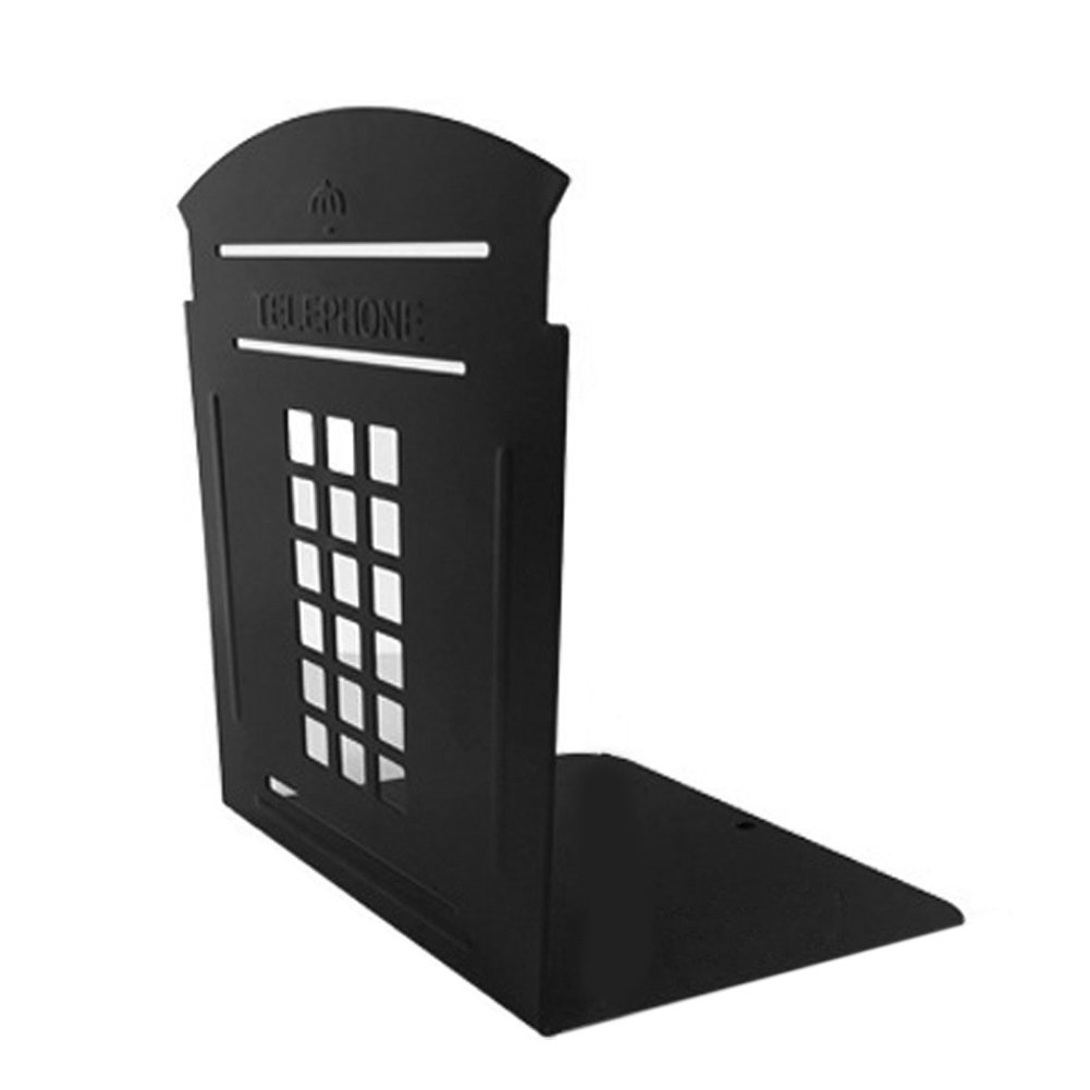 BUYITNOW Vintage London Telephone Booth Metal Bookends for School Office Study 1 Pair, Black by BUYITNOW (Image #1)