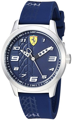 (Ferrari Boy's Pitlane Quartz Stainless Steel and Silicone Strap Casual Watch, Color: Blue (Model: 840020))