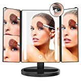 LED Makeup Mirror inkerscoop Tri-Fold 24 LED Light with 10 X / 3 X / 2 X / 1 X Magnifying Makeup Mirror 180 ° Adjustable Stand Smart Touch Screen Adjustable Brightness lighted For Makeup