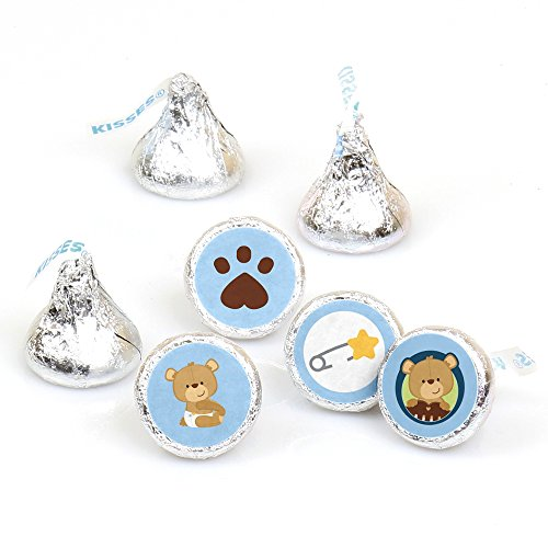 Baby Boy Teddy Bear - Baby Shower or Birthday Party Round Candy Sticker Favors – Labels Fit Hershey's Kisses (1 sheet of 108)