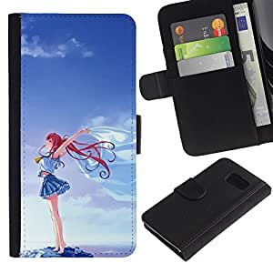 Paccase / Billetera de Cuero Caso del tirón Titular de la tarjeta Carcasa Funda para - Girl Blue Sky Cartoon Redhead - Samsung Galaxy S6 SM-G920