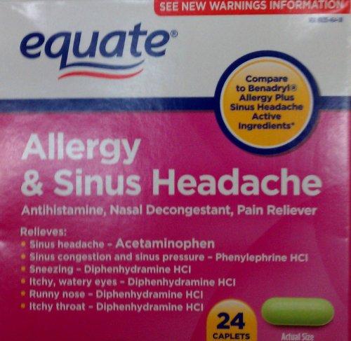 Equate allergies et des sinus Maux de tête 24 Capsules Comparez avec Benadryl