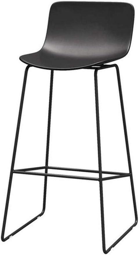 T-Day Taburete de Bar Silla de Comedor de Altura sin Brazos con Patas de Metal Asiento de plástico para el mostrador de la Cocina Baño Negro (Size : 75cm)