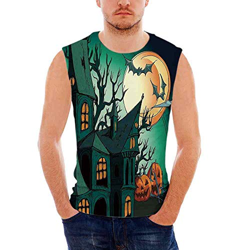 Halloween Decorations100% Heavy Cotton H D Tank,Haunted Medieval Cartoon Bats in ()