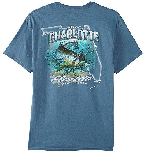Reel Legends Mens Port Charlotte T-Shirt Large Indigo - Port Charlotte