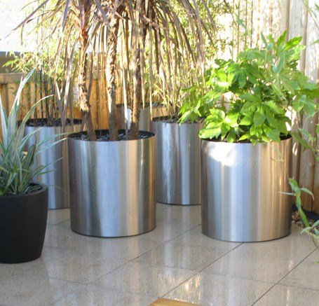 Polished Stainless Steel Planters Circular Garden Planters Large