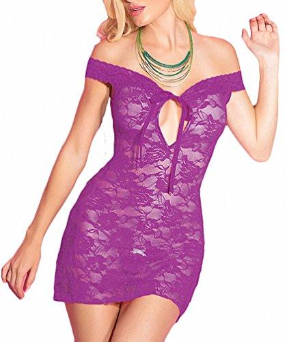 Women Sexy Lingerie Flirty Lace Dress Microfiber Babydoll with G-String Sleepwear See-through Nightwear Chemises Allure Leather Corset Dress