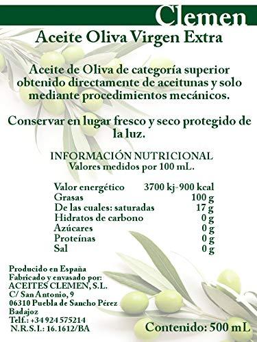 Aceite de Oliva Virgen Extra Clemen 500 mL Gourmet Pack 6 Unidades: Amazon.es: Alimentación y bebidas