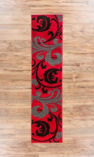 Melanie Floral Red & Grey Modern Geometric Comfy - Fleur De Lis Runner Rug