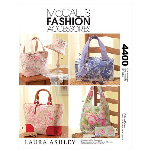 Bag Purse Sewing Pattern - McCall's Patterns M4400 Handbags, Tote Bags, Hat and Accessories, One Size Only