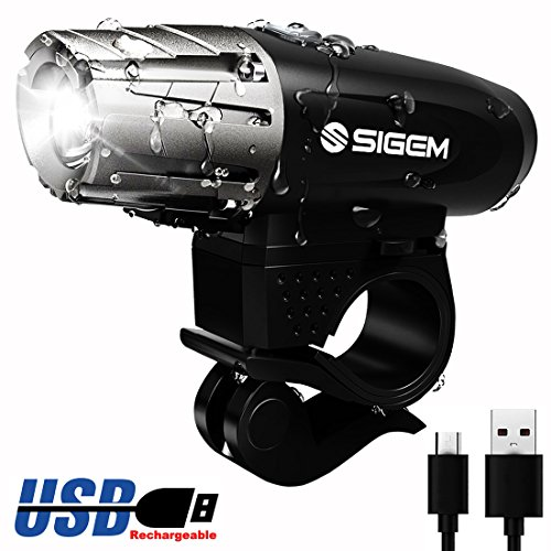SIGEM Ultra Bright BIKE HEADLIGHT, USB Rechargeable, Bicycle Flashing Head Light, LED Safety Warning Strobe, 4 Modes Flashlight, Super Powerful 350 Lumens Torch with Swivel mount (Headlight) Review