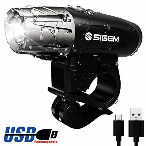 SIGEM Ultra Bright BIKE HEADLIGHT, USB Rechargeable, Bicycle Flashing Head Light, LED Safety Warning Strobe, 4 Modes Flashlight, Super Powerful 350 Lumens Torch with Swivel mount (Headlight)
