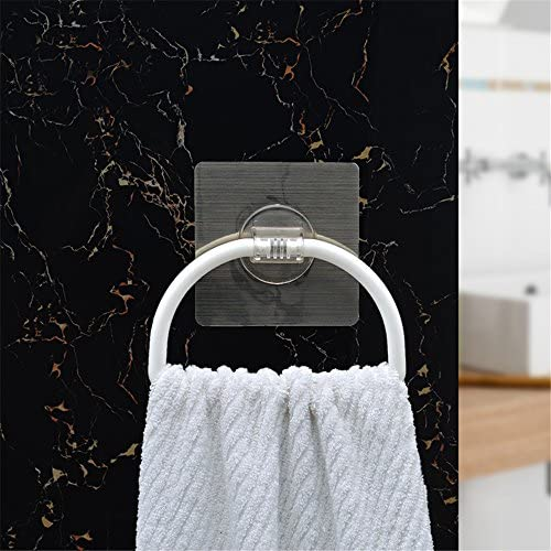 Inchant Non-track Self Adhesive Bathroom Kitchen Towel Holder Ring,Restickable & Washable tea towel/dish cloth Hanger Rack, Plastic,White